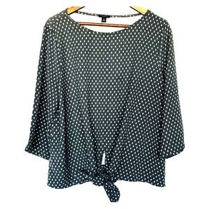 Ann Taylor gray and white tie front blouse top XLP